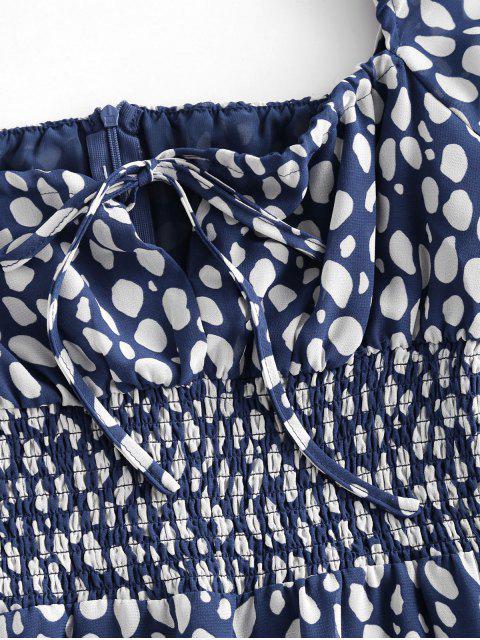 Vestido de Bata de Lunares con Volantes con Lazo con Estampado - Multicolor M Mobile
