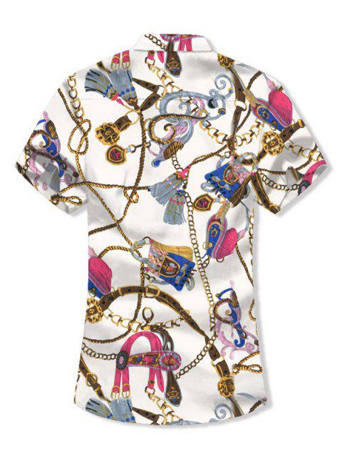 Camisa de Manga Corta y Borlas con Estampado - Blanco M Mobile
