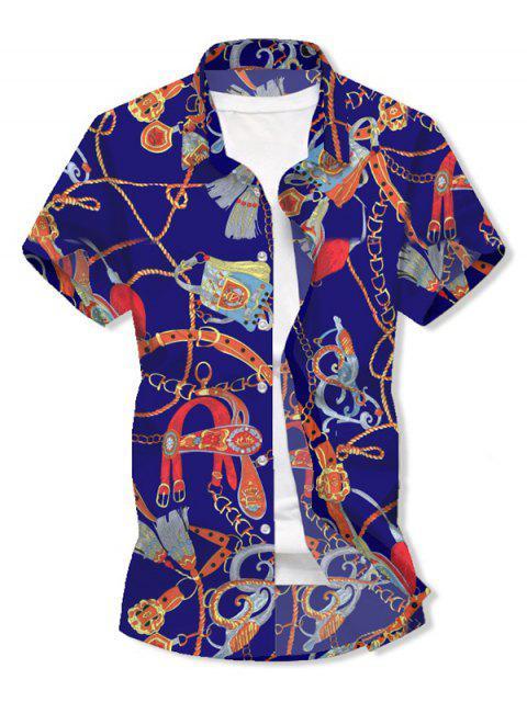 Camisa de Manga Corta y Borlas con Estampado - Azul 3XL Mobile