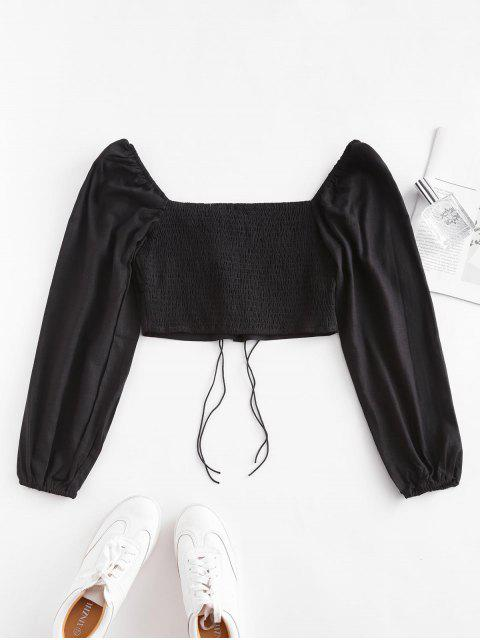 women Smocked Back Tie Sweetheart Neck Crop Top - BLACK S Mobile