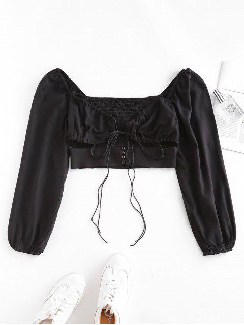 best Smocked Back Tie Sweetheart Neck Crop Top - BLACK M Mobile