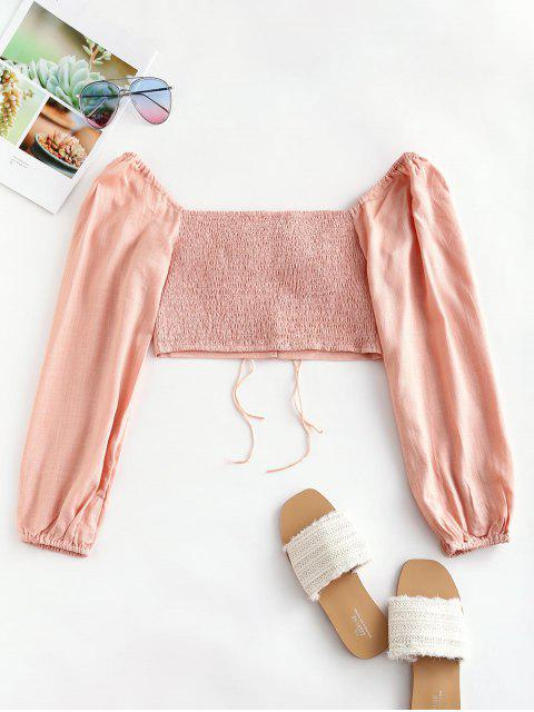chic Smocked Back Tie Sweetheart Neck Crop Top - PINK L Mobile