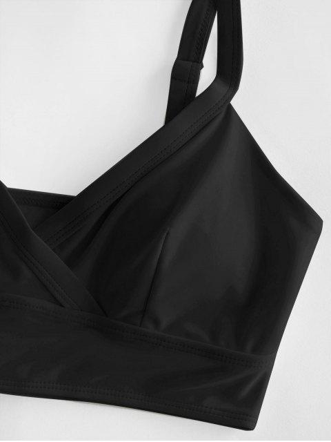 shop ZAFUL Surplice Plain Padded Bikini Top - BLACK M Mobile