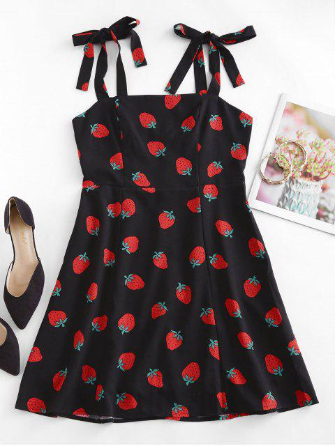 lady Strawberry Print Tie Shoulder Mini Dress - BLACK S Mobile