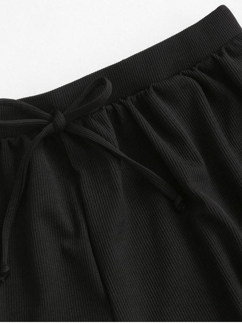 ZAFUL Bikiniunterteil mit Gerippten Bindebändern - Schwarz S Mobile