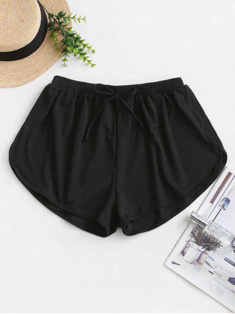 unique ZAFUL Tie Ribbed Swim Bottom - BLACK M Mobile
