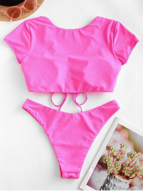 Costume da Bagno a Due Pezzi a Gamba Alta di ZAFUL - Rosa Brillante XL Mobile