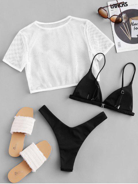 fashion ZAFUL Ribbed High Leg Fishnet Three Piece Swimsuit - BLACK S Mobile