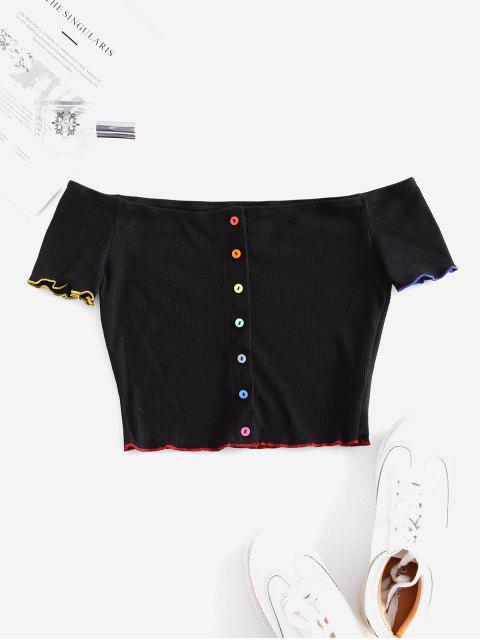 T-shirt Coloré Boutonné Epaule Dénudée à Ourlet en Laitue - Noir L Mobile