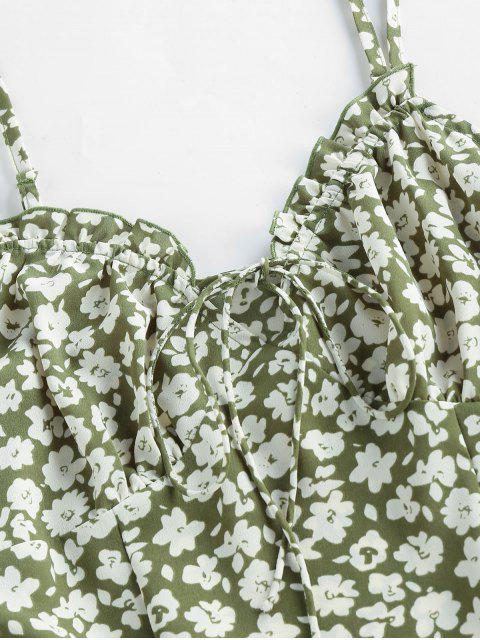 women's ZAFUL Ditsy Print Frilled Cami Mini Dress - GREEN M Mobile