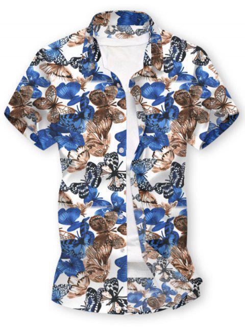 طباعة فراشة زر قميص بأكمام قصيرة - أبيض 2XL Mobile
