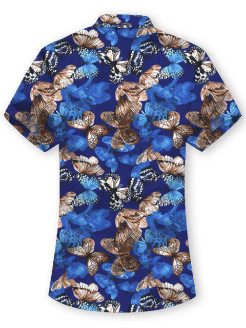 Kurzärmliges Hemd mit Schmetterlingsdruck - Blau 3XL Mobile