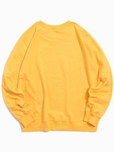 fancy Helping Hands Pattern Casual Sweatshirt - YELLOW S Mobile