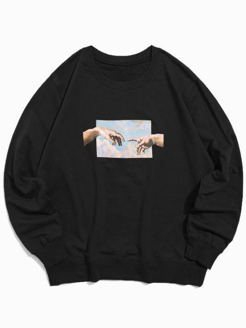affordable Helping Hands Pattern Casual Sweatshirt - BLACK XS Mobile