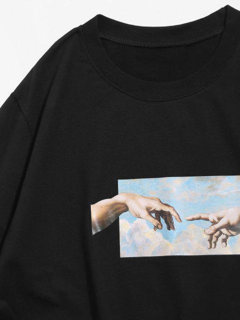 buy Helping Hands Pattern Casual Sweatshirt - BLACK S Mobile
