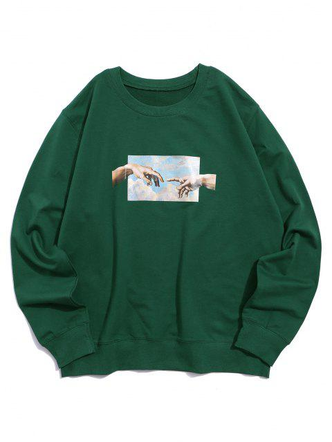 shop Helping Hands Pattern Casual Sweatshirt - DEEP GREEN L Mobile