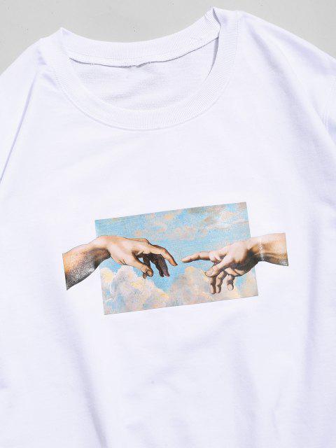 Sweat-shirt Décontracté Motif deMains - Blanc XS Mobile