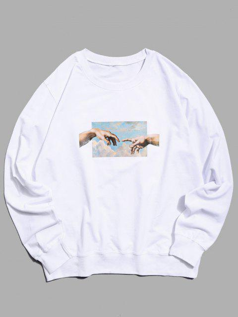 fashion Helping Hands Pattern Casual Sweatshirt - WHITE L Mobile