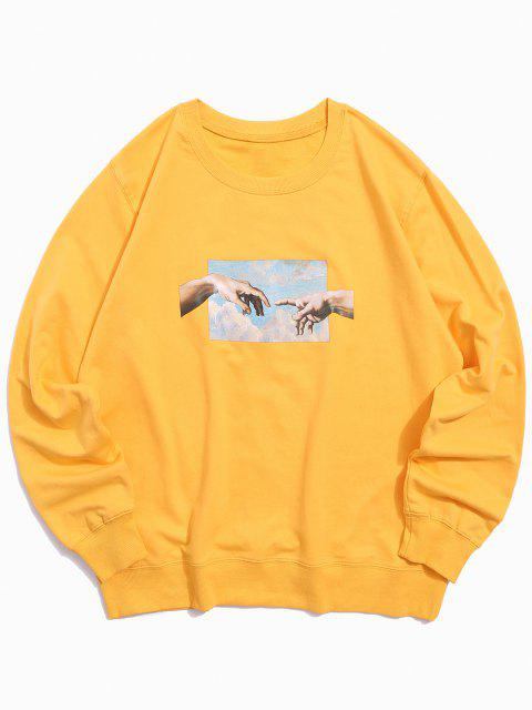chic Helping Hands Pattern Casual Sweatshirt - YELLOW XS Mobile