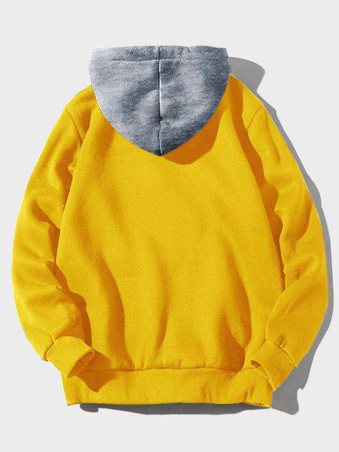 ladies Color-blocking Letter Patch Detail Pouch Pocket Fleece Hoodie - YELLOW S Mobile