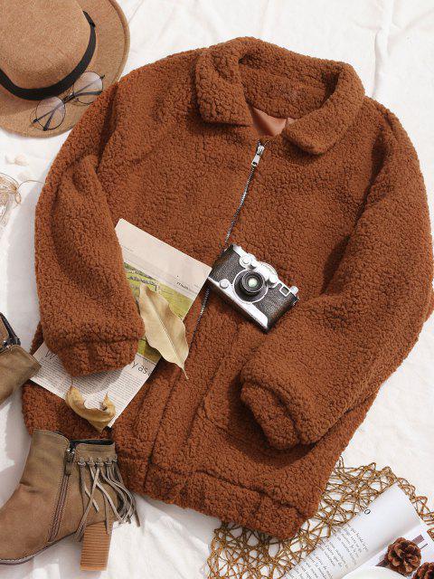 best Slip Pockets Faux Fur Teddy Coat - LIGHT BROWN M Mobile