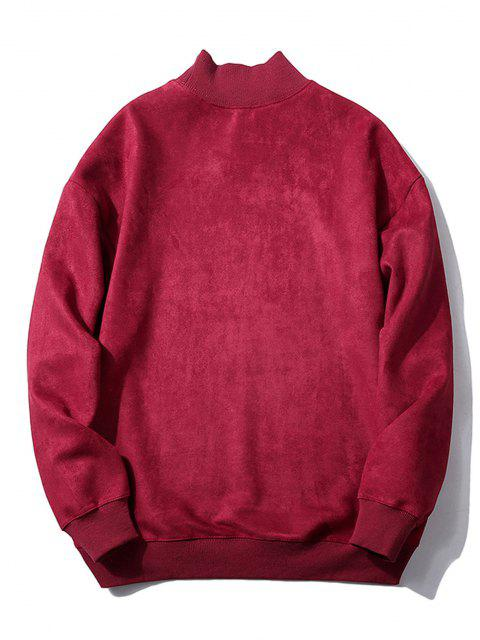 new Chest Letter Print Solid Color Suede Sweatshirt - RED WINE XS Mobile