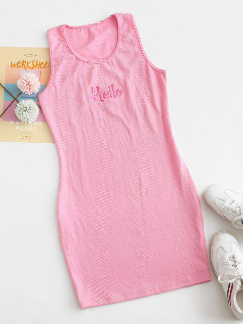 buy Ribbed Embroidered Zip Slit Tank Dress - PINK S Mobile