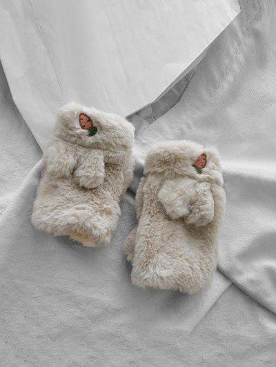 Rabbit Ears Faux Fur Fingerless Mitten Gloves - Beige