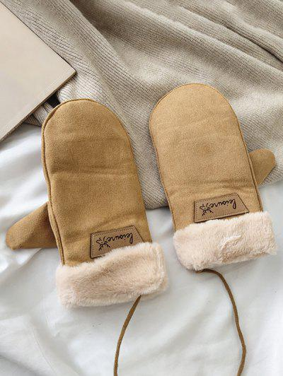 Animal Letter Fleece Mitten Gloves - Khaki