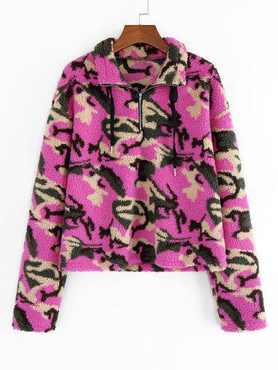 ZAFUL Animal Camo Drop Shoulder Quarter Zip Teddy Sweatshirt - Multi-c M