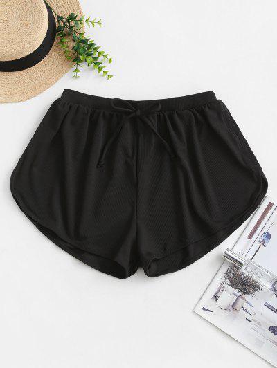 ZAFUL Tie Ribbed Swim Bottom - Black L