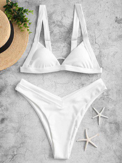 ZAFUL Maillot De Bain Bikini Côtelé Coupe Haute à Jambe Haute En V - Blanc S