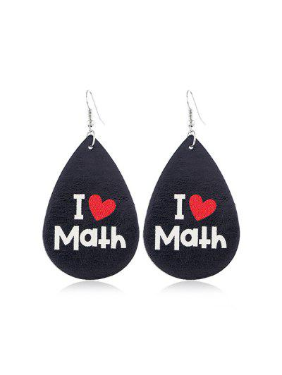 Water Drop Leather Letter Earrings - Multi-a