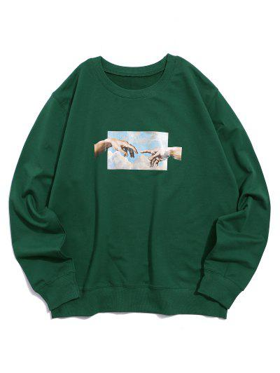 Helping Hands Pattern Casual Sweatshirt - Deep Green L