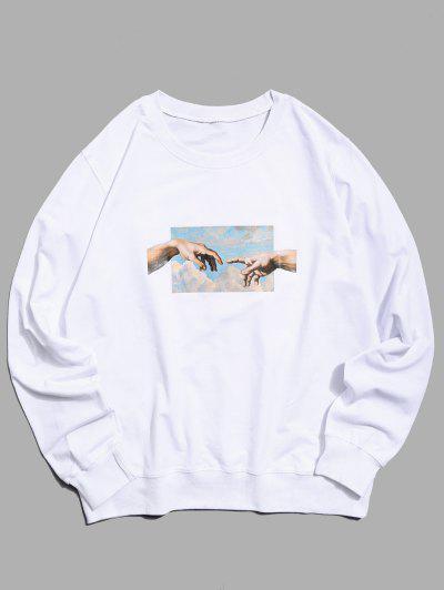 Helping Hands Pattern Casual Sweatshirt - White M