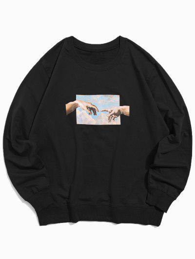 Sweat-shirt Décontracté Motif DeMains - Noir Xl