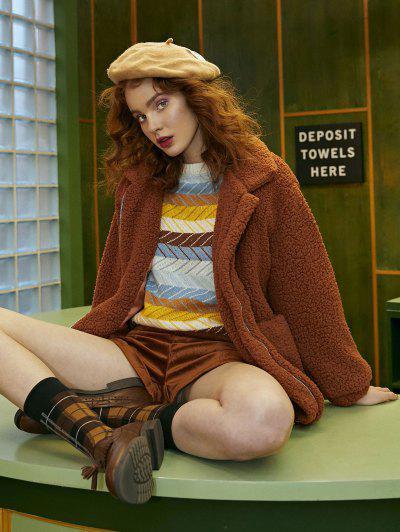 Slip Pockets Faux Fur Teddy Coat - Light Brown S