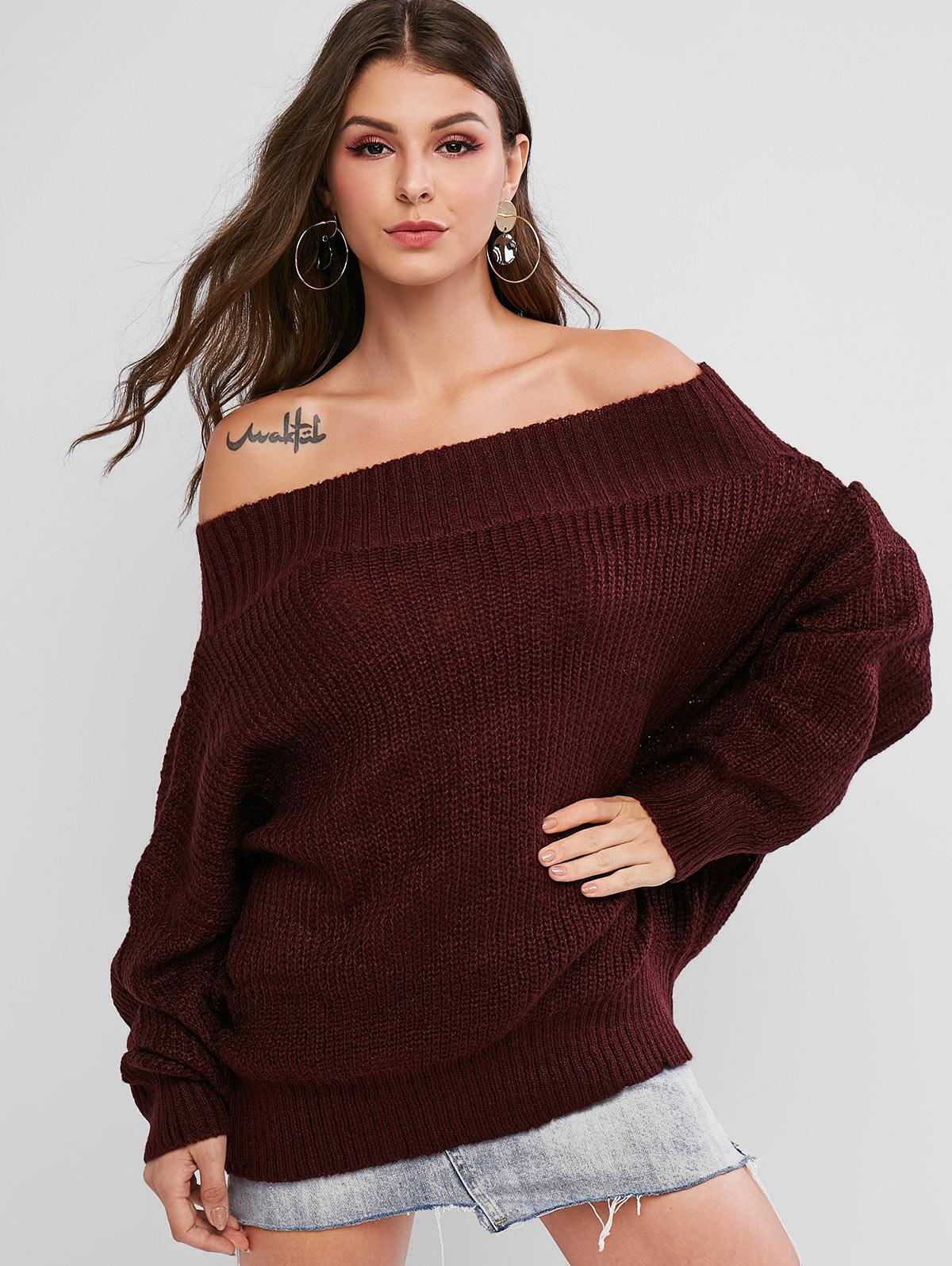 Off Shoulder Solid Loose Sweater фото