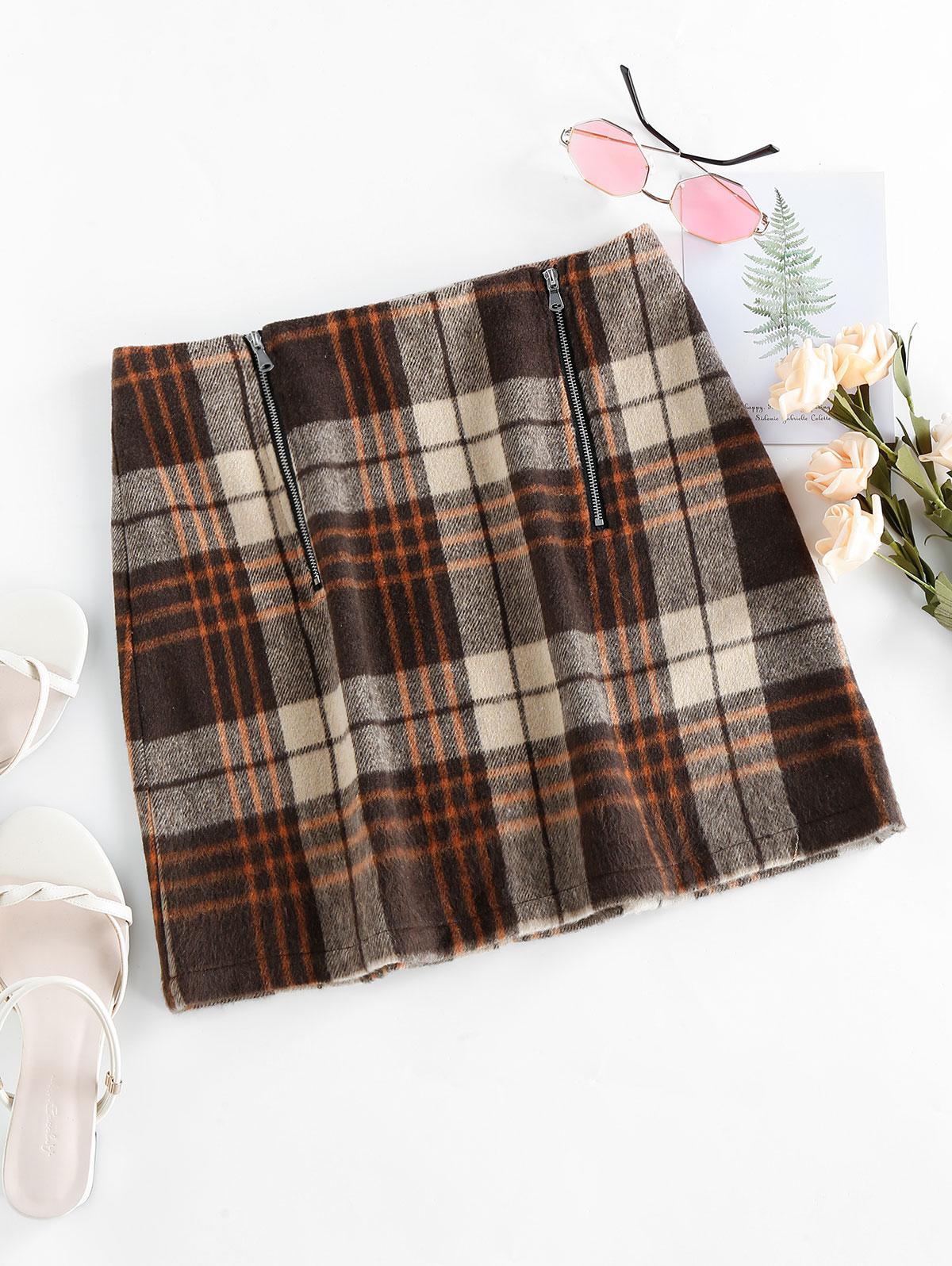 ZAFUL Plaid Zipper Mini Skirt