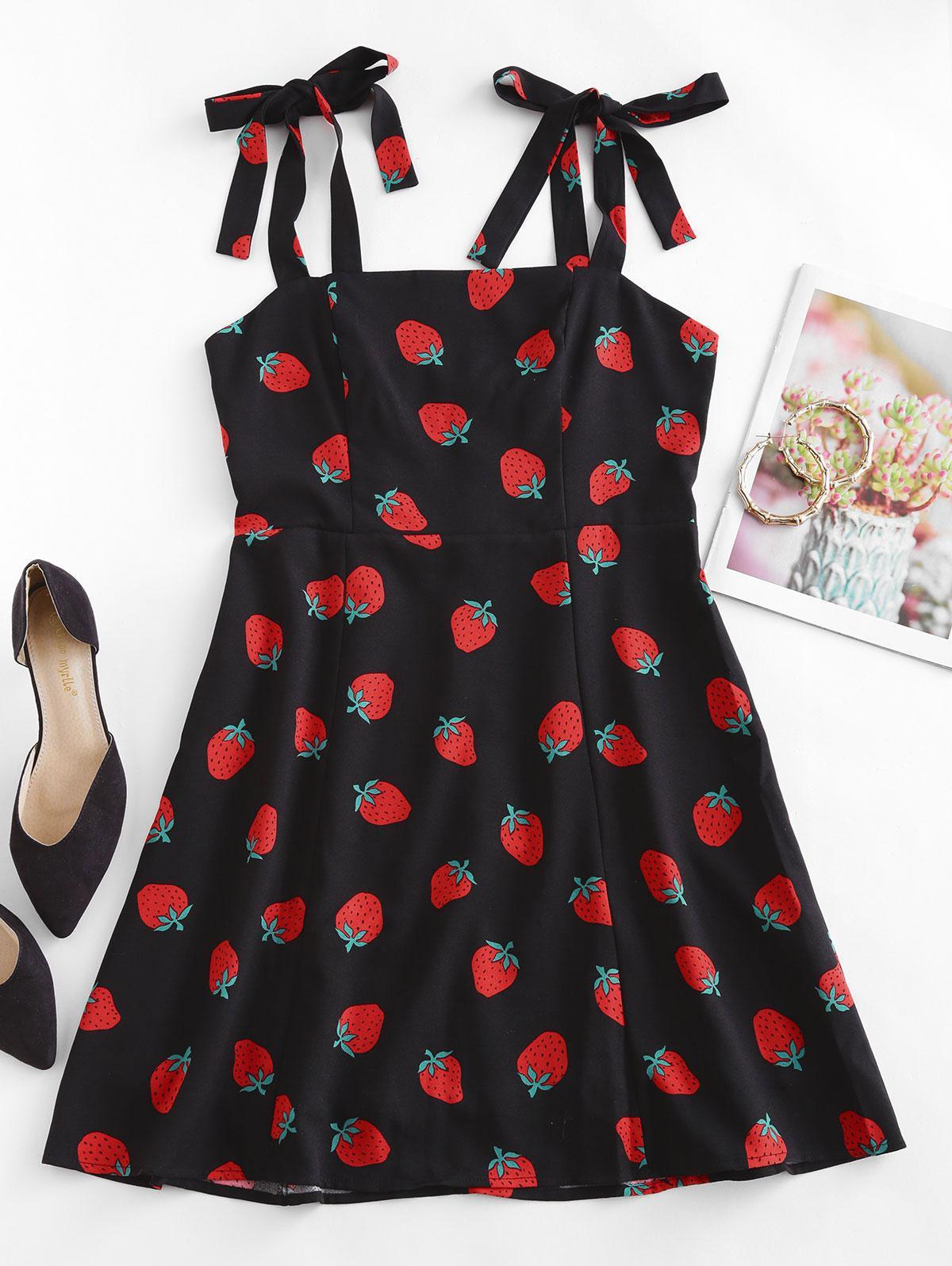 Strawberry Print Tie Shoulder Mini Dress