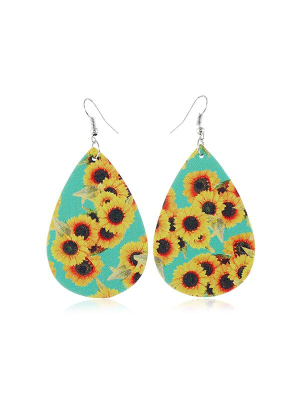 Sunflower Leather Water Drop Earrings