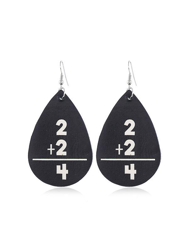 Water Drop Leather Letter Earrings