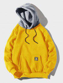 اللون حجب تصحيح رسالة التفاصيل جيب الحقيبة الصوف هوديي - الأصفر L