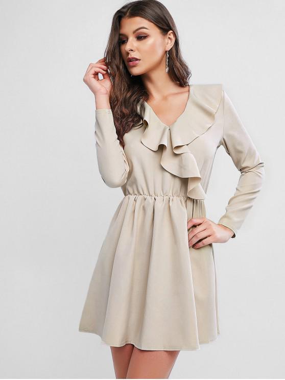 latest Flounce V Neck Long Sleeve Dress - WARM WHITE XL