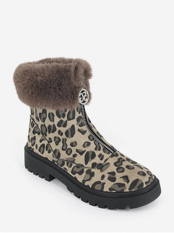 fancy Fuzzy Collar Leopard Print Front Zip Short Boots - BLACK EU 36