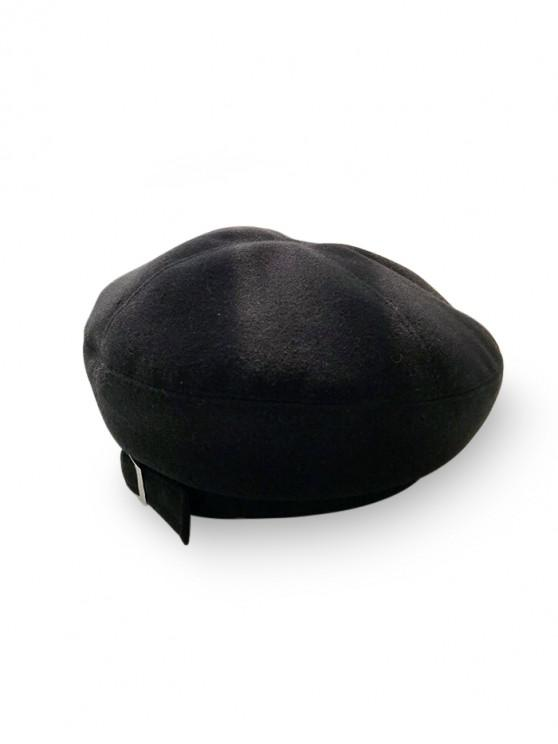 shops Japanese Winter Woolen Beret Cap - BLACK