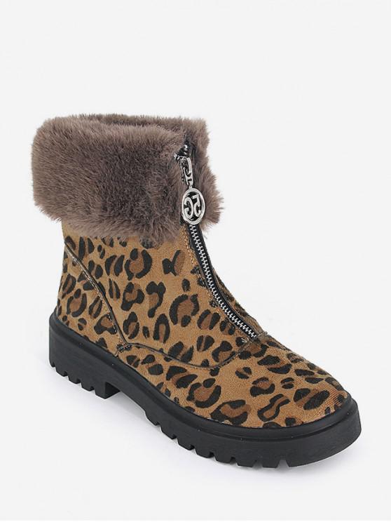 模糊領豹紋拉鍊短靴 - 豹 歐盟35