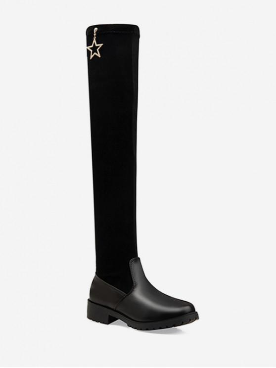 affordable Rhinestone Star Suede Thigh High Boots - BLACK EU 43