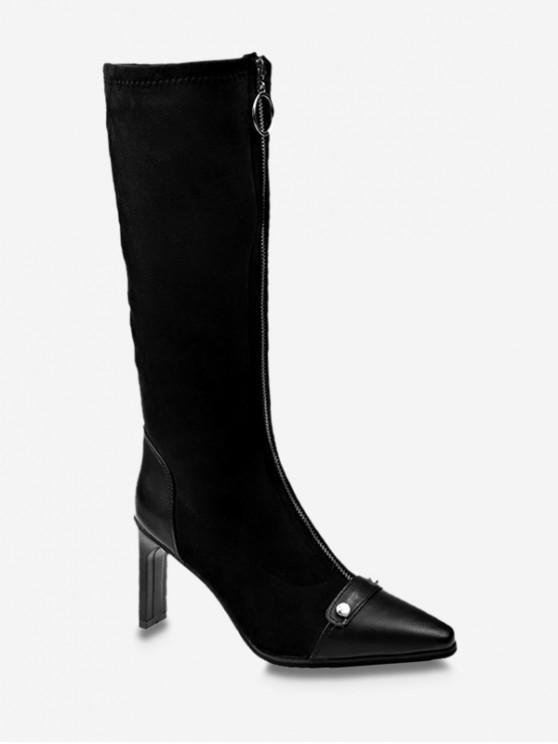 O型圈拉鍊高跟尖頭靴 - 黑色 歐盟38
