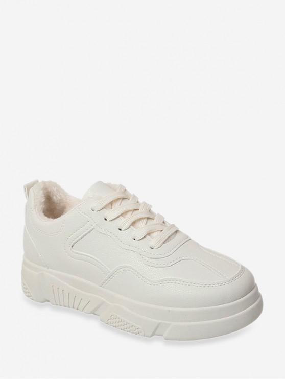 shop Plain Fleece Low Top Skate Sneakers - BEIGE EU 38